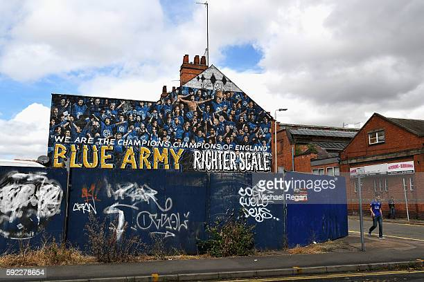 Graffiti art near the stadium during the Premier League match between Leicester City and Arsenal at The King Power Stadium on August 20 2016 in...