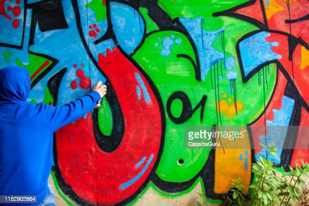 graffiti artist spraying graffiti on wall - street artist stock pictures, royalty-free photos & images