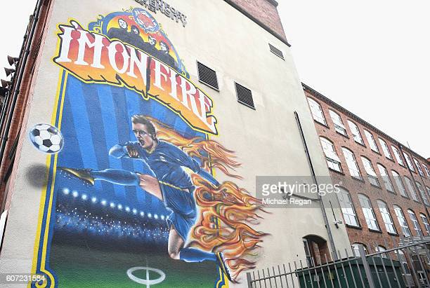A graffiti artist street art in tribute to Jamie Vardy of Leicester City during the Premier League match between Leicester City and Burnley at The...