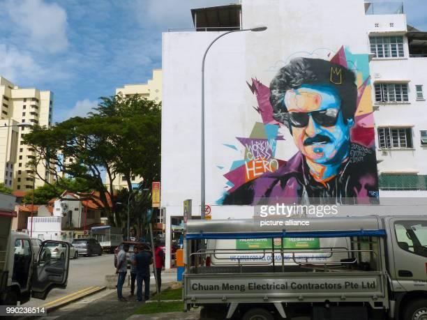 A graffiti by the artist 'Zero' shows the Indian movie star Rajinikanth inSingapore Singapore 28 December 2018 While illegal graffiti sprayings are...
