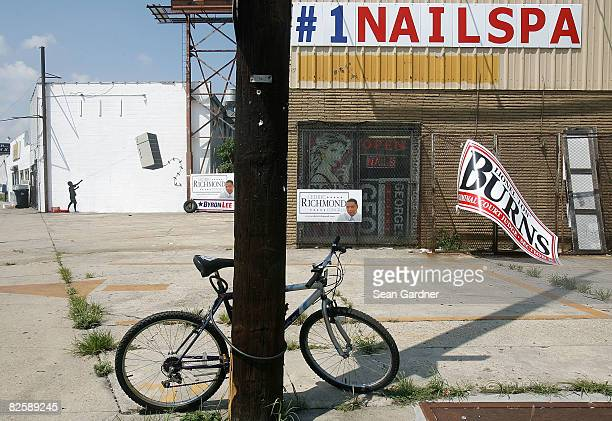 Graffiti by the illusive artist Banksy adorns a building August 28 2008 in New Orleans Louisiana New works by the artist whose paintings are also...