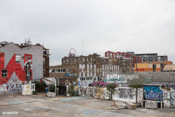 graffiti covered urban area in hackney wick - east london stock pictures, royalty-free photos & images