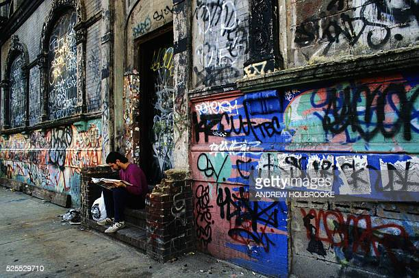 Graffiti covers a building in New York City's East Village