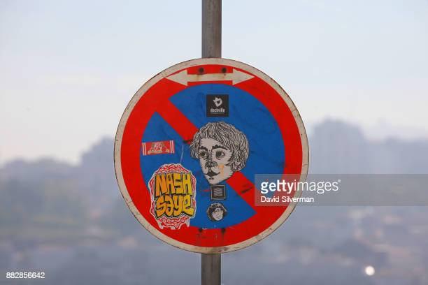 Graffiti covers a street sign in the city center on October 6 2016 in Porto in northern Portugal Porto is the country's secondlargest city after...