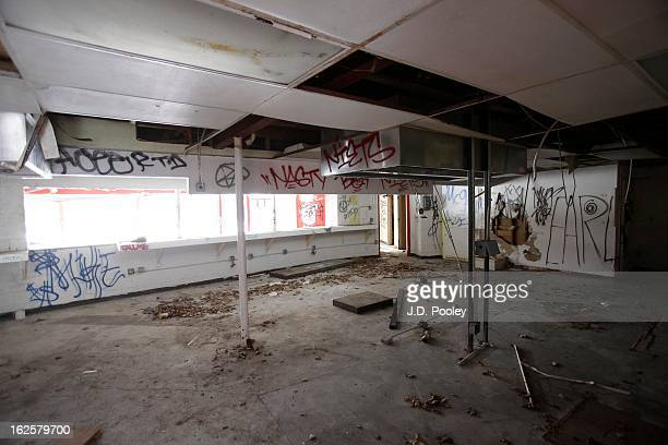 Graffiti covers an abandoned building at the former Belle Isle Safari Zoo February 24 2013 in Detroit Michigan The city of Detroit has faced serious...