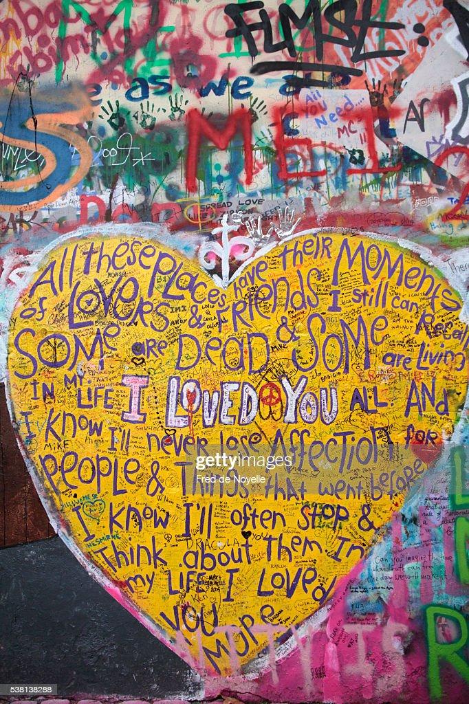 Graffiti Dedicated To John Lennon On Lennon Wall In Prague Stock ...