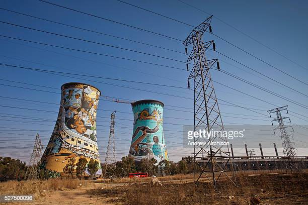 Graffiti for the football World Cup 2010 on the cooling towers of the decommissioned thermoelectric power station, Orlando, Soweto, Johannesburg,...