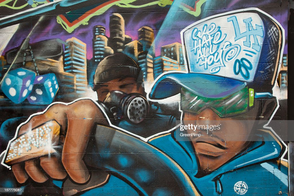 Graffiti Gangster Drives : Stock Photo
