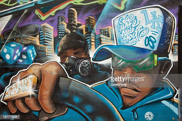 graffiti gangster drives - pimped car stock photos and pictures