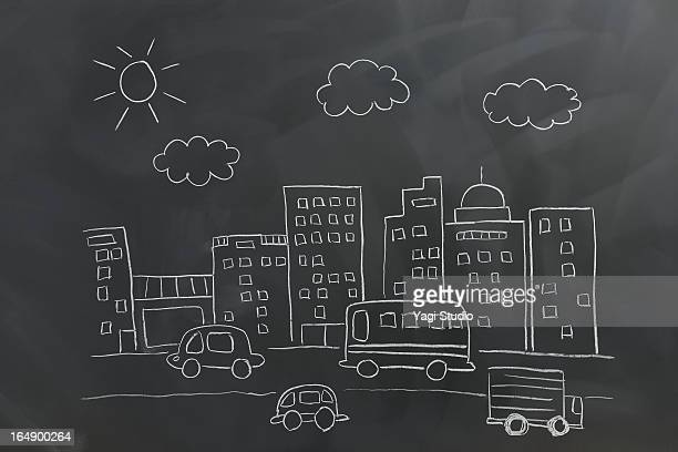 Graffiti image of the city on a blackboards