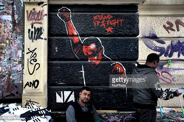 Graffiti in Athens city center April 13 2016