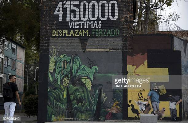 Graffiti in Bogota Colombia on January 8 2016 Once considered vandalism graffiti is gaining more respect in Colombia reflecting the desire for peace...