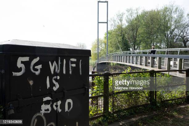 Graffiti in Bute Park that reads '5G wifi is bad' on April 16, 2020 in Cardiff, United Kingdom. A number of 5G phone masts have been destroyed after...