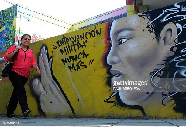 Graffiti in Medellin Antioquia department Colombia on January 8 2016 Once considered vandalism graffiti is gaining more respect in Colombia...