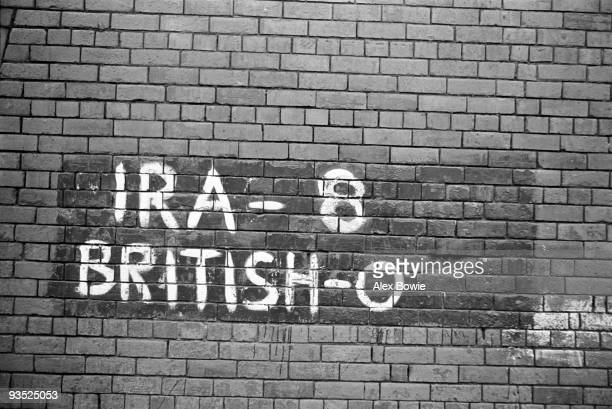 Graffiti in the form of an IRA scorecard in the Republican Ardoyne district of north Belfast 19th April 1976 It reads 'IRA 8 British 0'