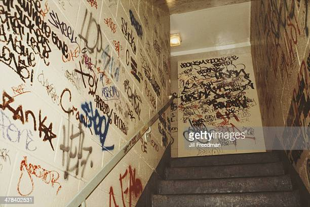 Graffiti in the stairwell of a housing project in New York City circa 1985
