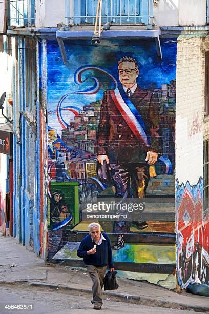 graffiti de valparaíso - salvador allende fotografías e imágenes de stock