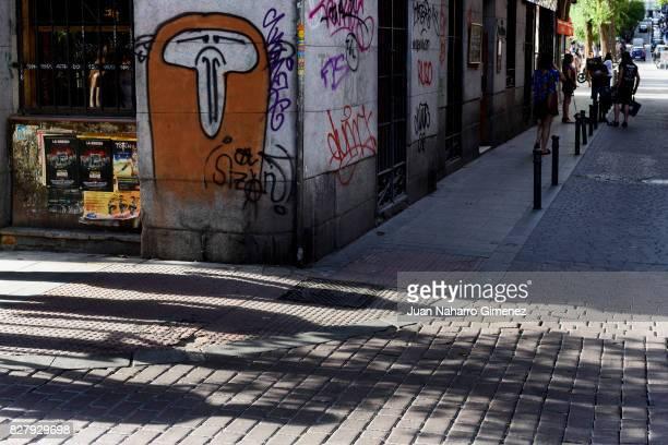 Graffiti is seen in the neighborhood of Malasaña of Madrid on July 19 2017 in Madrid Spain