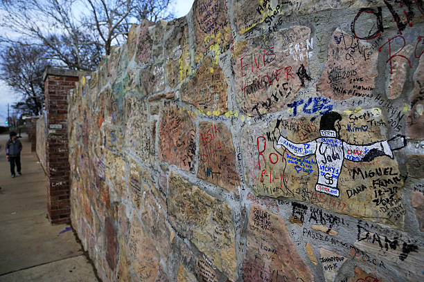 Graffiti left by funs on the wall of Graceland