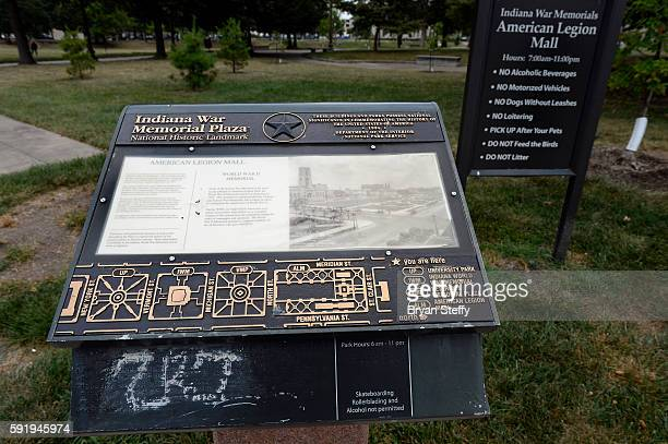 Graffiti marks the map and informational sign at the Indianapolis War Memorial Plaza in Indianapolis IN on August 09 2016