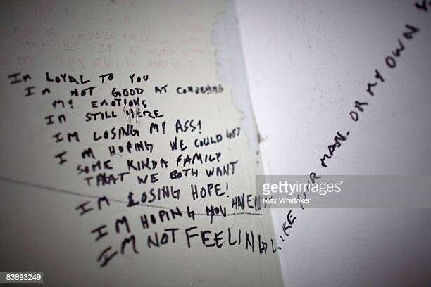 Graffiti marks the wall of a foreclosed home December 2 2008 in Somerset California Many foreclosed homes need substantial repairs and trash removal...