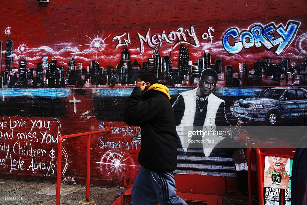 A graffiti memorial adorns a wall in memory of a man who was shot and killed in the Bedford-Stuyvesant neighborhood on January 17, 2013 in the Brooklyn borough of New York City. Visual memorials honoring residents who in many cases met violent ends decorate many Brooklyn neighborhoods. New York Governor Andrew Cuomo recently signed into law the New York Secure Ammunition and Firearms Enforcement Act, one of the toughest gun laws in the country.