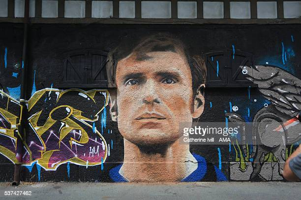 A graffiti mural of Inter Milan legend Giacinto Facchetti close to the stadium ahead of the final at Stadio Giuseppe Meazza on May 26 2016 in Milan...