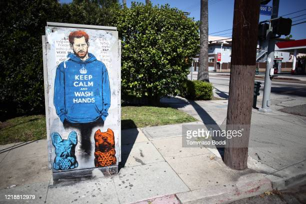 Graffiti mural of Prince Harry is seen during the coronavirus pandemic on April 14, 2020 in Los Angeles, California.