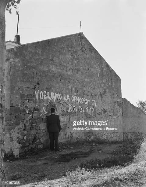 Graffiti near the Morgan Line between the Yugoslav and Allied administrations in Trieste Italy circa 1946 Tito's youthful supporters have written...