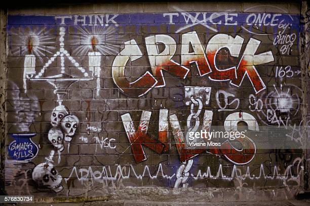 Graffiti on a New York City wall reads 'CRACK KILLS'