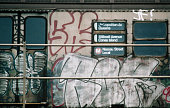 Graffiti on a subway car at coney island station picture id534995452?s=170x170