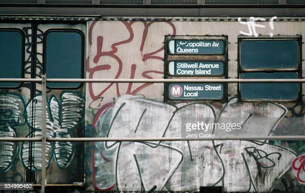 Graffiti on a Subway Car at Coney Island Station