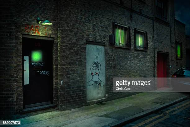 graffiti on alley doors in city at night - alley stock photos and pictures