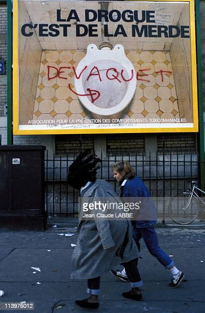 Graffiti on an advertising poster anti drug in Paris France On November 26 1986Graffiti against the Project Devaquet