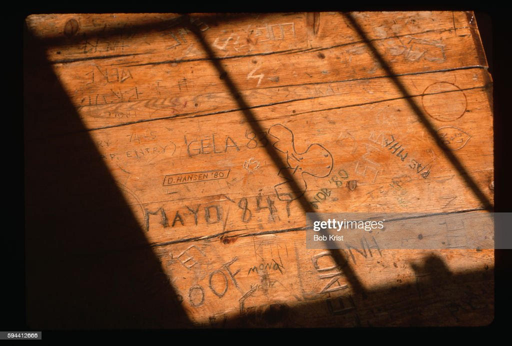 Graffiti On An Old School Desk Stock Photo - Getty Images