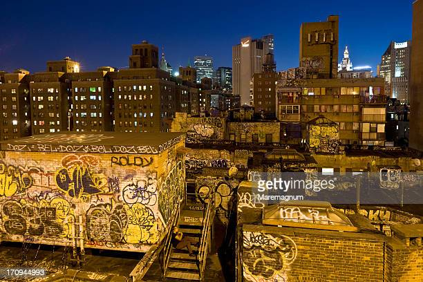 Graffiti on Chinatown roofs from Manhattan Bridge