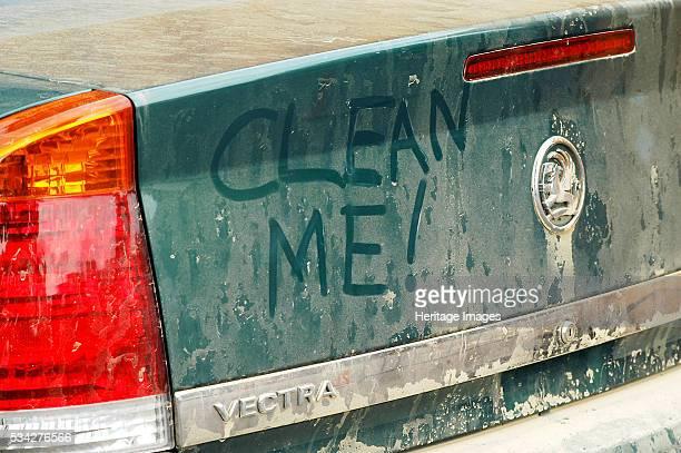 Graffiti on dirty Vauxhall Vectra 2003, 2000.