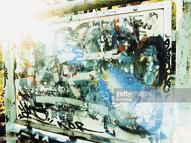 Graffiti on display board