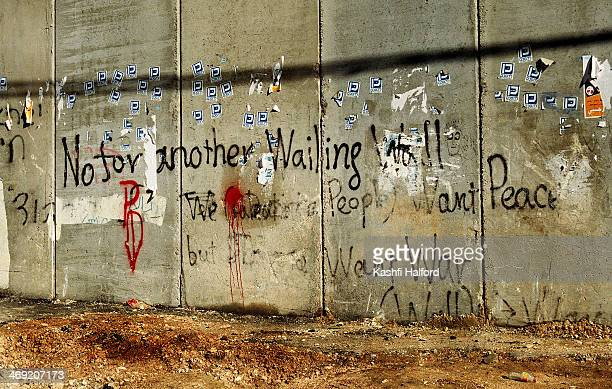 Graffiti on the segregation wall near East Jerusalem separating Israel and Palestine. 'No for another Wailing Wall'