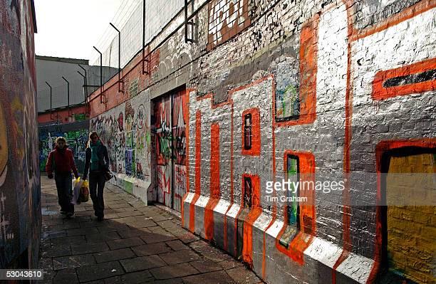 Graffiti on walls in Werregaren Straat Ghent