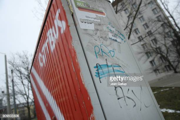 Graffiti reading 'For Asylum' covers previous graffiti reading 'No Asylum' on January 23 2018 in Cottbus Germany State authorities recently halted...