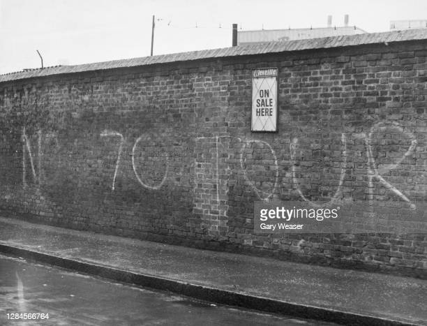 Graffiti reading 'No 70 Tour' daubed on the wall of the Oval cricket ground as opposition to the South African team's summer tour steps up with...