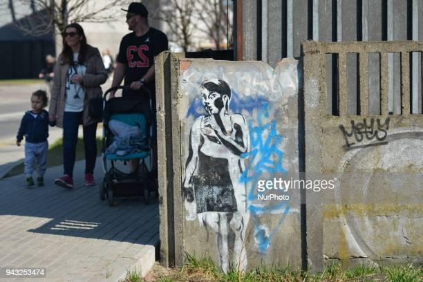Graffiti seen near Oskar Schindler's Enamel Factory museum in Krakow-Podgorze area. On Saturday, April 7 in Krakow, Poland.