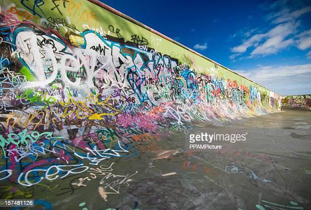 graffiti skateboard ramp - train graffiti stock photos and pictures