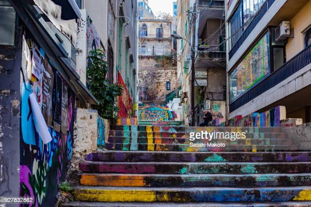 A graffiti staircase with many colors