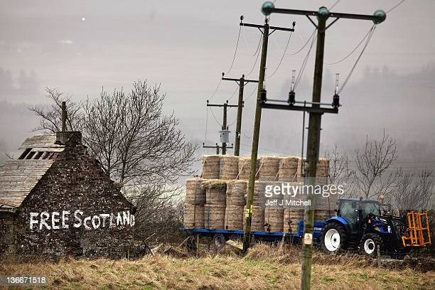 Graffiti stating 'Free Scotland' is written on the gable end wall of a derelict cottage on January 10 2012 in Bannockburn Scotland The Scottish First...