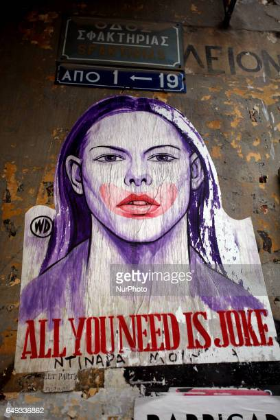 Graffiti that reads all you need is joke in Athens, Greece, February 19, 2017.