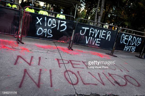 Graffiti that reads 'No Forgiveness and to not forget' at the Villa Luz CAI police station were police officers tortured Javier Ordonez on September...