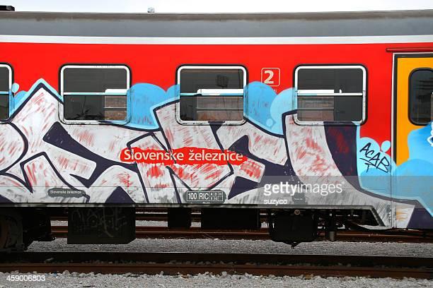 graffiti train - train graffiti stock photos and pictures