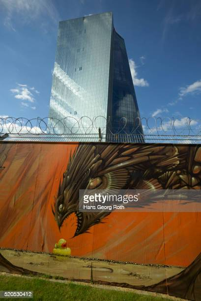 Graffiti wall in front of the European Central Bank, ECB